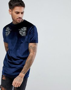 Read more about Asos t-shirt with floral embroidery in velour - navy