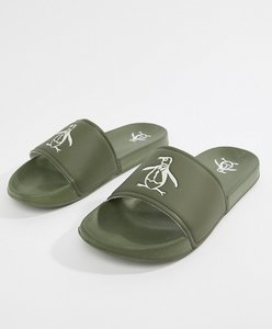 Read more about Original penguin slider flip flops - green