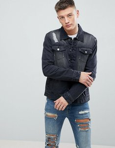 Read more about Hoxton denim washed black denim jacket with rips - black