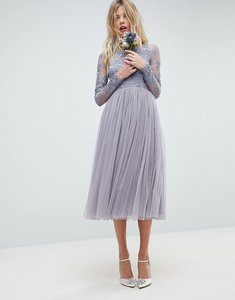 Read more about Asos wedding embroidered mesh midi dress - powder blue