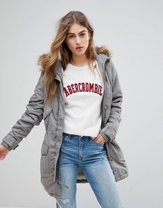 Read more about Abercrombie fitch twill faux fur lined parka - grey