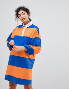 Read more about Asos rugby t-shirt dress - orange blue stripe