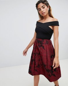 Read more about Ax paris 2-in-1 skater midi dress - black red