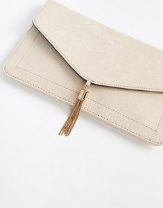 Read more about Asos tassel clutch bag - nude