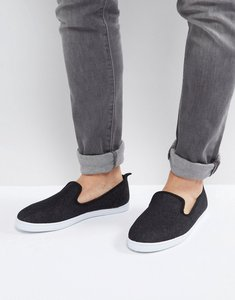 Read more about New look canvas slip on plimsolls in black - black