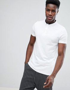 Read more about Asos pique polo with contrast collar detail in white - white shaken
