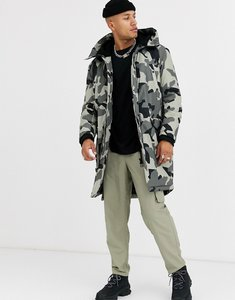 Read more about Asos design hooded parka jacket in ecru camo print