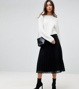 Read more about Asos tall pleated lace midi skirt - black