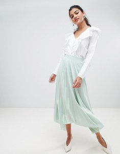 Read more about Asos design hanky hem pleated midi skirt in jersey - mint