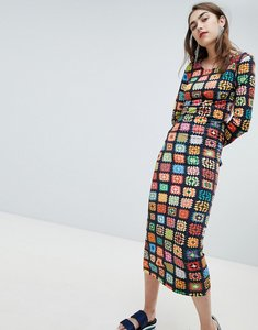 Read more about House of holland exclusive crochet print midaxi dress - black multi