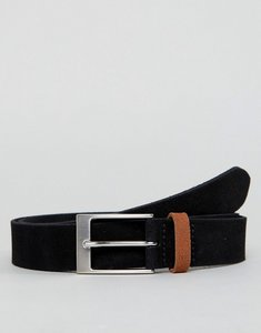 Read more about Asos smart slim suede belt in black with contrast tan suede keeper - black
