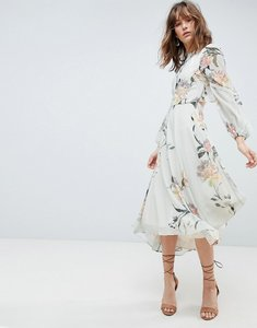Read more about Hope ivy long sleeve printed dress with lace trim and ruffle open back detail - multi