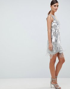 Read more about Asos edition mini dress in all over sequins and tassel fringe - silver