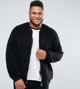 Read more about Asos plus oversized bomber jacket in borg - black