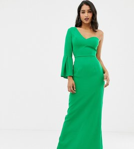 Read more about Yaura one ruffle shoulder maxi dress in green