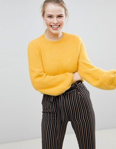 Read more about Bershka blouson sleeve fluffy jumper - yellow