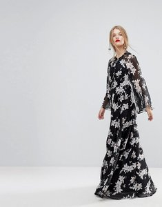 Read more about Y a s lily print kimono sleeve maxi dress - multi
