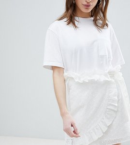 Read more about Lost ink petite mini wrap skirt in broderie anglaise - white