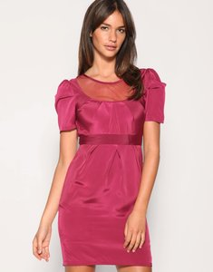 Read more about Asos mesh insert pleat detail dress - red