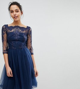Read more about Chi chi london bardot neck midi dress with premium lace and tulle skirt - navy