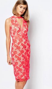 Read more about Lost ink plunge neck lace midi dress - red