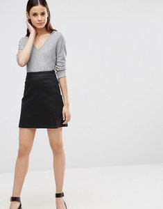 Read more about Asos denim a-line stretch skirt in coated black with split - black