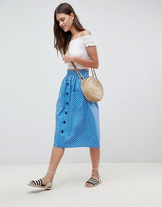 Read more about Asos design cotton midi skirt with button front in spot - blue white