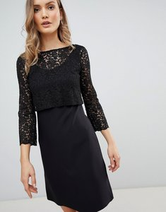 Read more about Zibi london 3 4 sleeve lace shift dress - black