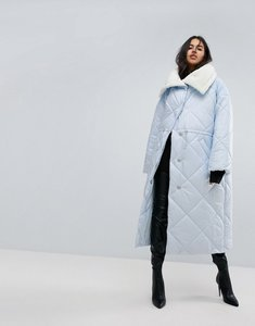Read more about Asos maxi puffer jacket with borg lining - light blue