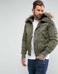 Read more about Schott tempest 17 nylon flight bomber jacket hooded detachable faux fur trim in green - khaki