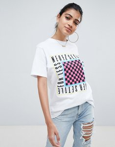 Read more about Asos design oversized t-shirt with never settle for less print in white - white