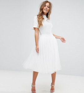 Read more about Little mistress petite midi tulle prom skirt - white