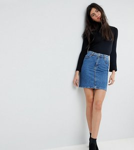 Read more about Asos design tall denim original high waisted skirt in midwash blue - mid wash blue
