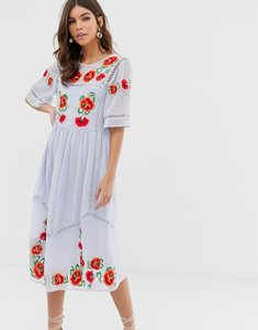 Read more about Asos design embroidered smock midi dress with ladder trims