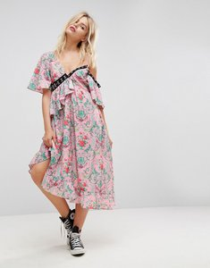 Read more about Asos eyelet floral satin maxi dress - multi