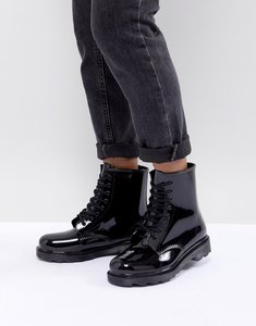 Read more about Asos design global lace up wellies - black