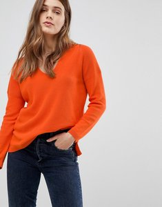 Read more about Esprit ribbed v neck jumper - bright orange