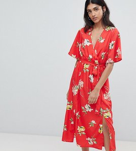 Read more about Influence tall wrap midi dress with split in floral print - red