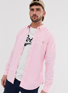 Read more about Polo ralph lauren player logo stripe oxford button down shirt slim fit in pink