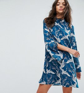 Read more about Glamorous tall swing dress in vintage heron print - teal
