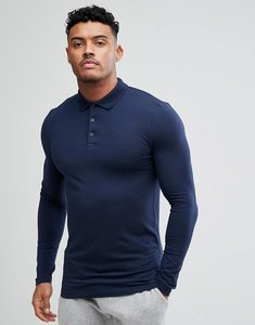 Read more about Asos design long sleeve muscle fit polo in navy - navy