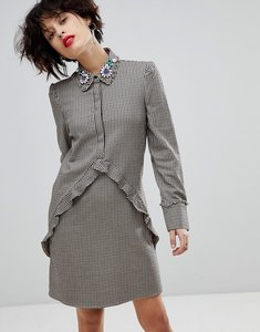 Read more about Mango check dress with embellished collar - multi