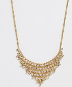 Read more about Johnny loves rosie gem drop statement necklace - gold