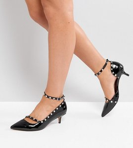 Read more about Asos sabre wide fit studded kitten heels - black
