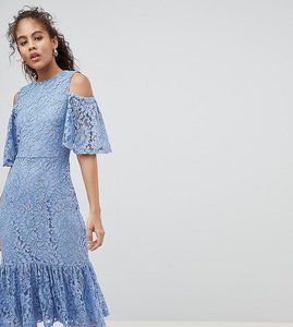 Read more about Y a s tall lace cold shoulder midi dress - blue