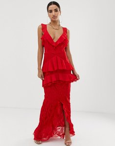 Read more about Prettylittlething tiered lace maxi dress - red