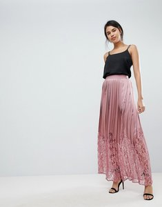 Read more about Little mistress lace pleated maxi skirt - rose