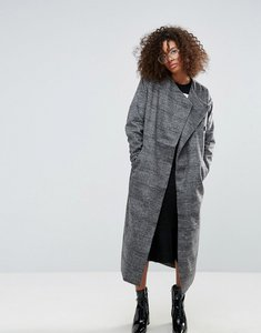 Read more about Monki check longline coat - grey with checks