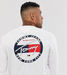 Read more about Tommy jeans exclusive to asos back circle signature logo long sleeve top in white