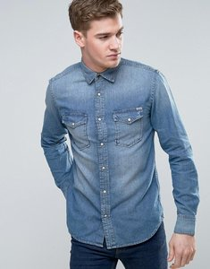 Read more about Jack jones vintage western denim shirt in mid wash - medium blue denim